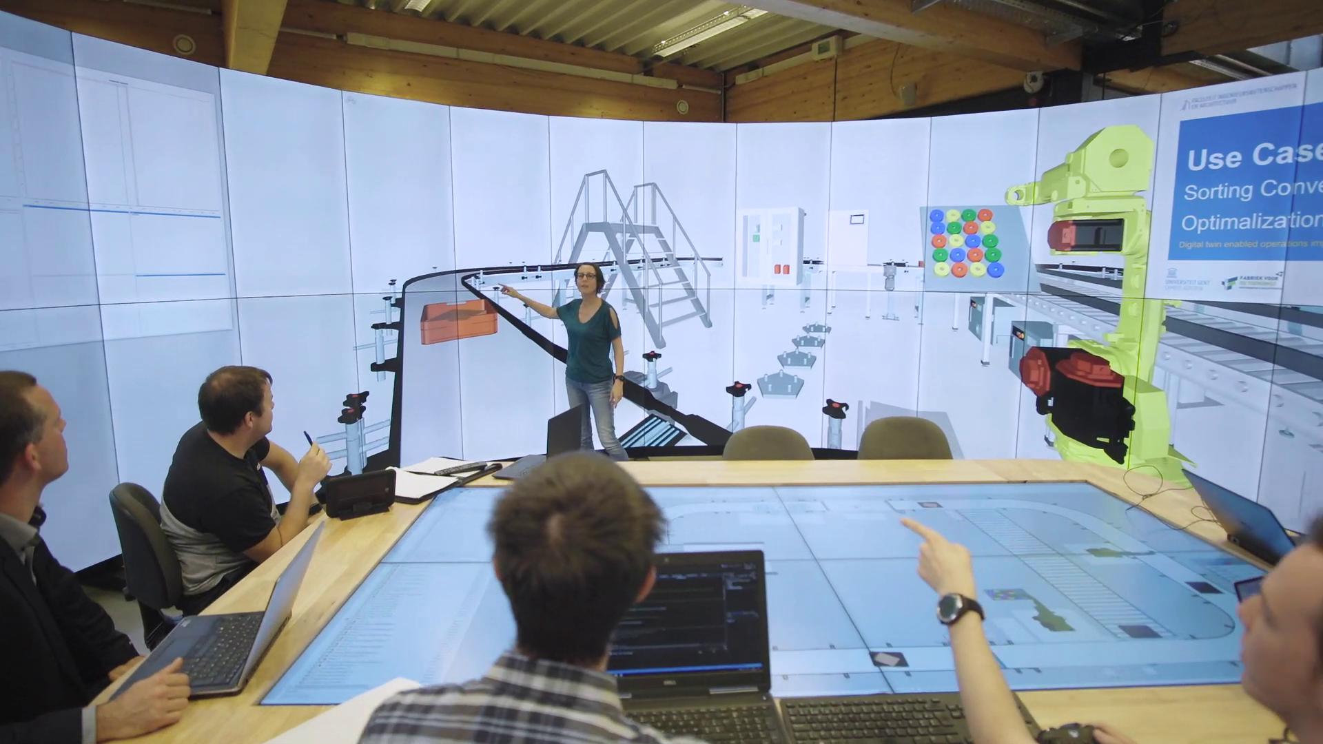 模拟一条带有传送带和机器人的物理装配线